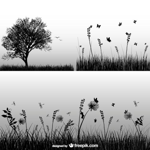 Silhouette herbe Vecteur gratuit