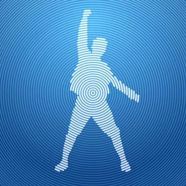 Silhouette homme abstrait excité tenir les mains en l'air, bras levés, concept gagnant gagnant Vecteur Premium