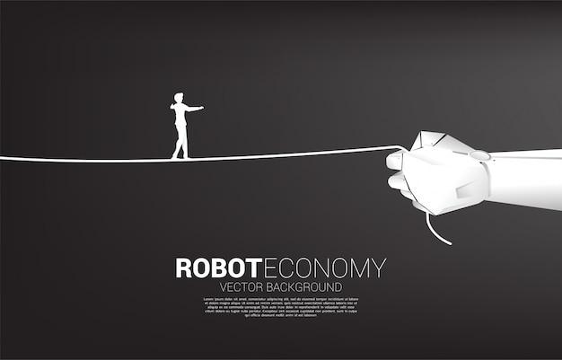 Silhouette D'homme D'affaires Marche Corde Dans La Main Du Robot. Concept De Défi Commercial Et Cheminement De Carrière. Vecteur Premium