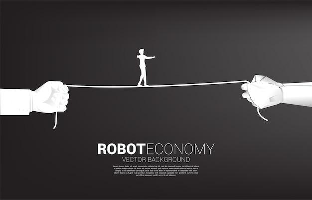 Silhouette, Homme Affaires, Marche, Corde, Robot, Humain, Main Vecteur Premium