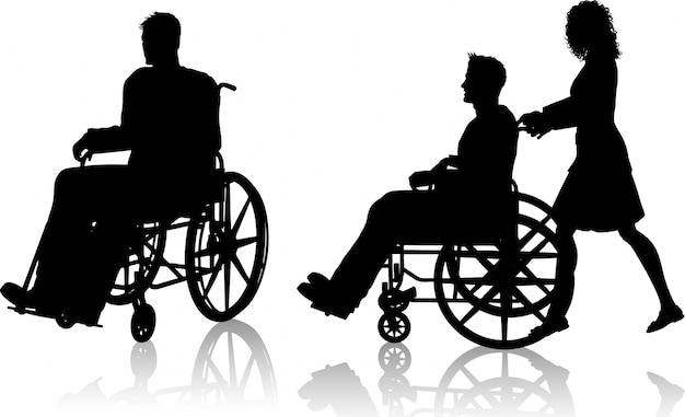 Silhouette d'un homme dans un fauteuil roulant et une avec une femme le poussant Vecteur gratuit