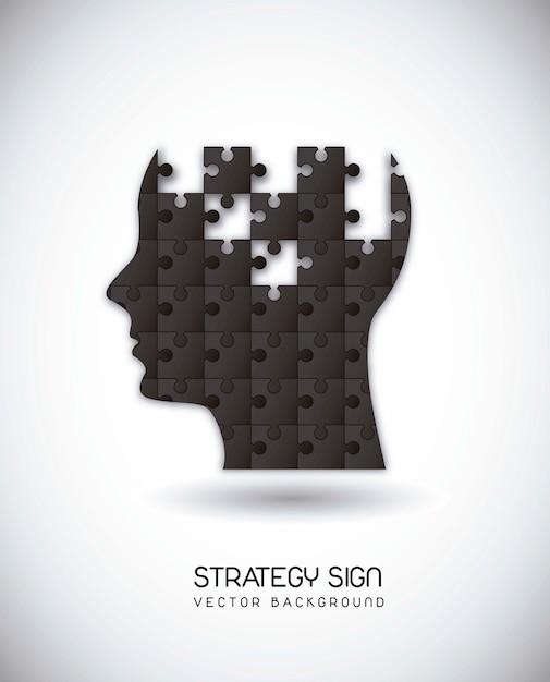 Silhouette homme avec énigmes sur l'illustration vectorielle fond gris Vecteur Premium