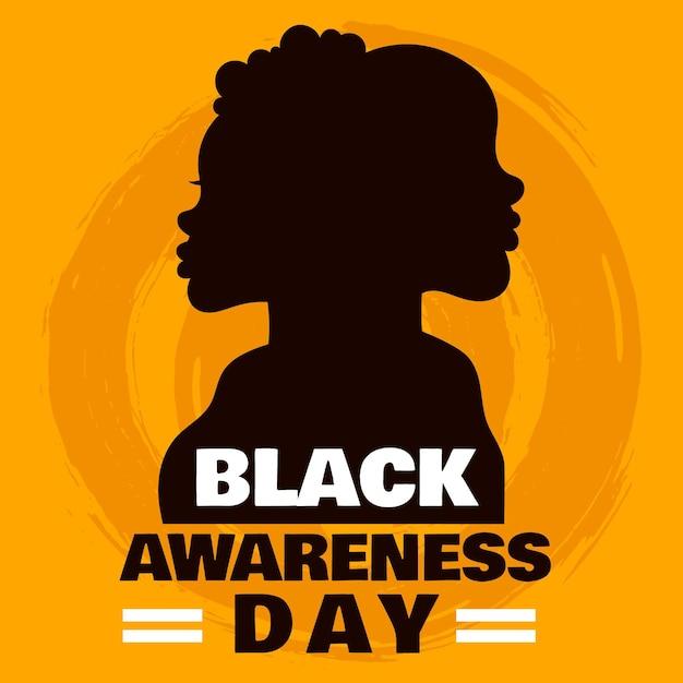 Silhouette D'homme Et Femme Journée De Sensibilisation Noire Vecteur gratuit