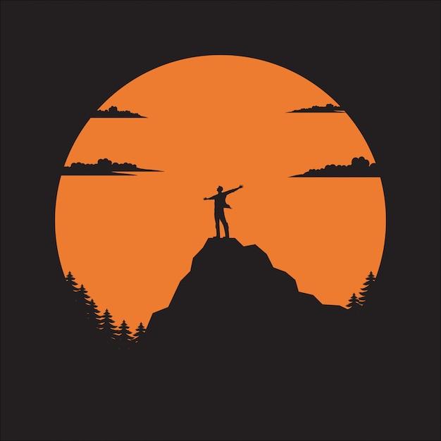 Silhouette l'homme de montagne au soleil Vecteur Premium