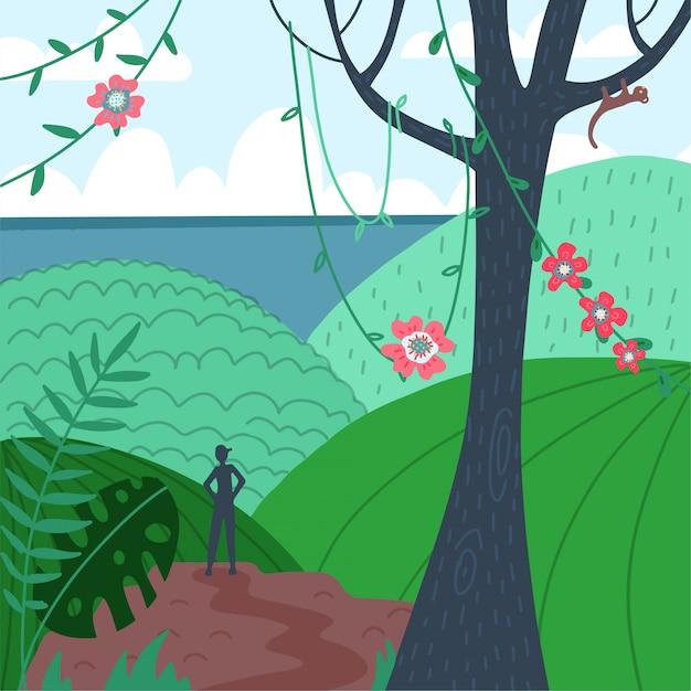 Silhouette D'homme, Vue Arrière Sur Le Point De Vue De La Montagne Tropicale. Randonneur, Explorateur. Beau Paysage Au Sommet De La Montagne, Vue Sur La Mer. Fond De Paysage De Nature. Vecteur Premium