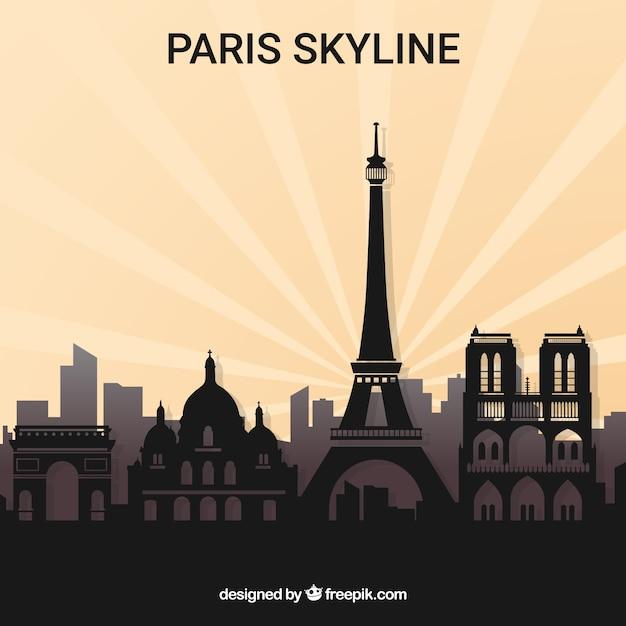 Silhouette De L'horizon De Paris Vecteur gratuit