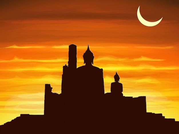 Silhouette de l'image de bouddha et les ruines du temple bouddhiste au crépuscule, thaïlande. Vecteur Premium