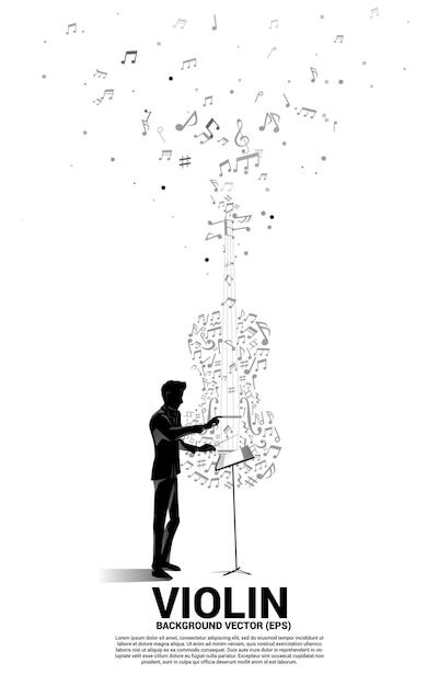 Silhouette De La Main De Chef D'orchestre Avec Note De Musique Mélodie Danse Icône De Violon De Forme De Flux. Vecteur Premium