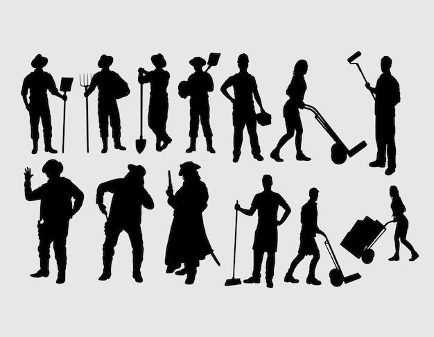Silhouette Masculine Et Féminine D'activité De Travailleur Vecteur Premium