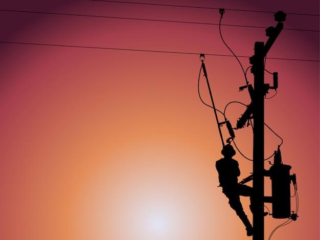 Silhouette de monteur de lignes électrique fermant un transformateur monophasé. Vecteur Premium