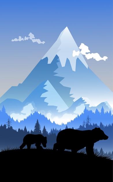Silhouette ours et montagne. Vecteur Premium