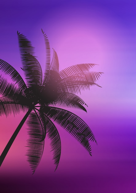 Silhouette de palmier sur fond dégradé Vecteur gratuit