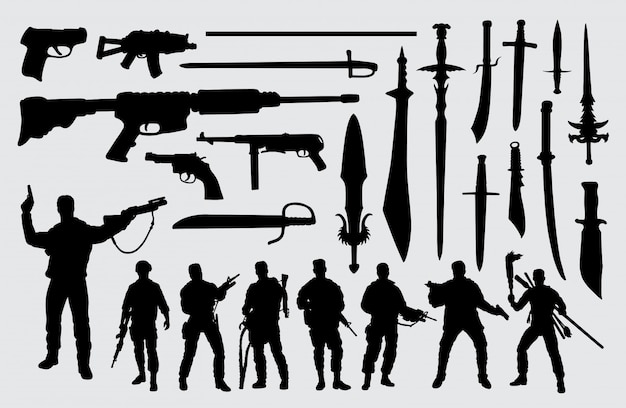 Silhouette de soldat, arme à feu et épée Vecteur Premium