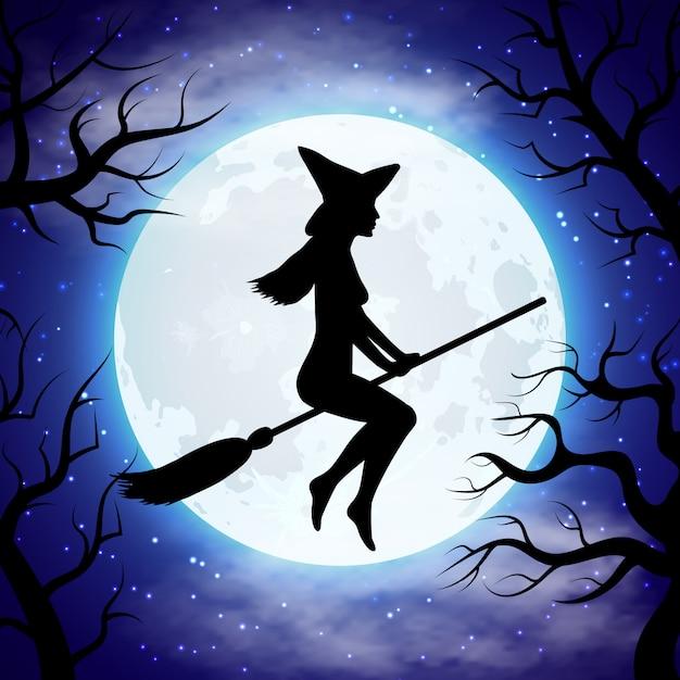 Silhouette de sorcière volant sur le balai dans la nuit d'halloween Vecteur Premium