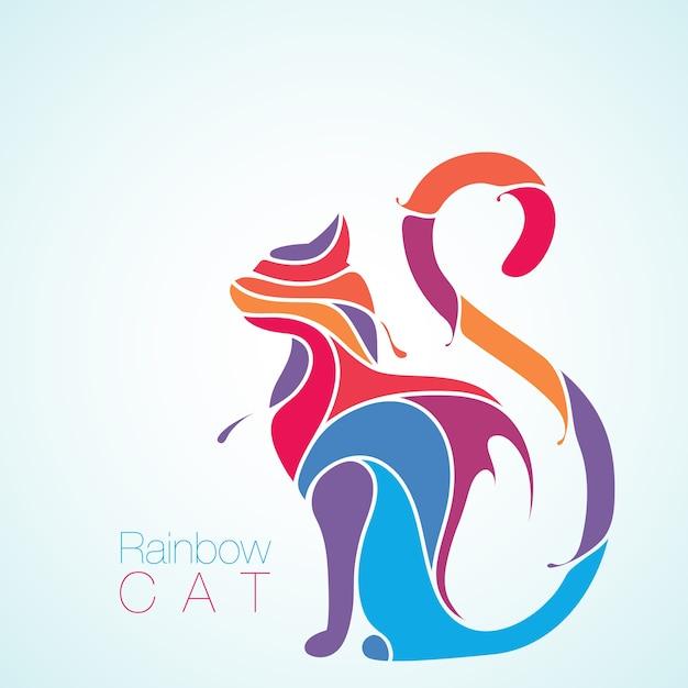 Silhouette splash de chat arc-en-ciel Vecteur Premium
