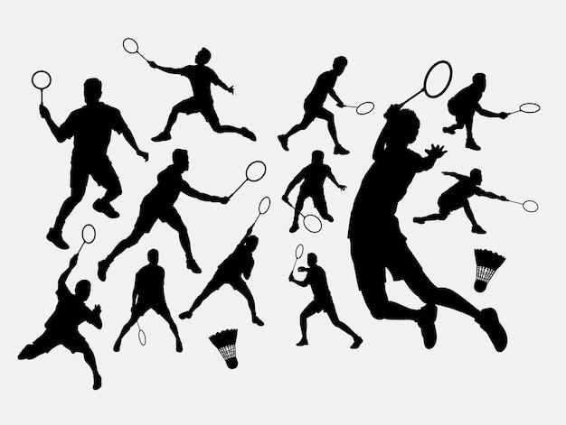 Silhouette de sport de badminton Vecteur Premium
