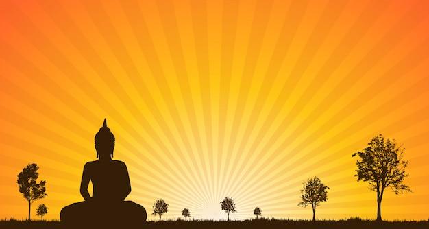 Silhouette de statue de bouddha Vecteur Premium
