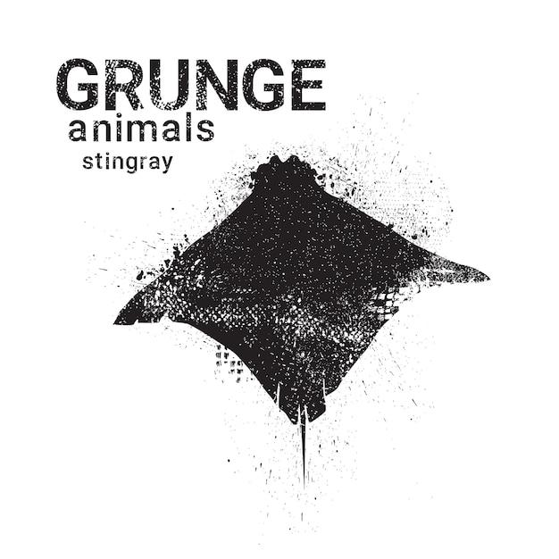 Silhouette Stingray En Icône De Style Grunge Design Animaux Vecteur Premium