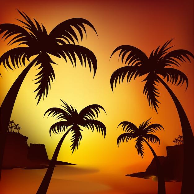 Silhouette d'un surfeur et de palmiers au coucher du soleil Vecteur Premium