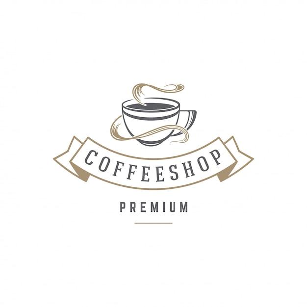 Silhouette De Tasse De Modèle Emblème Boutique Café Ou Thé Avec Illustration Vectorielle De Typographie Rétro Vecteur Premium
