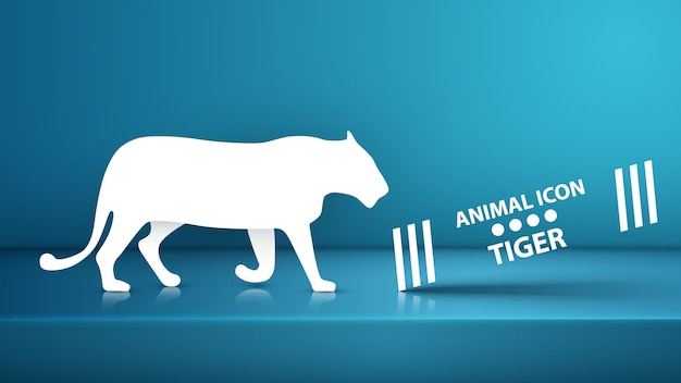Silhouette de tigre Vecteur Premium