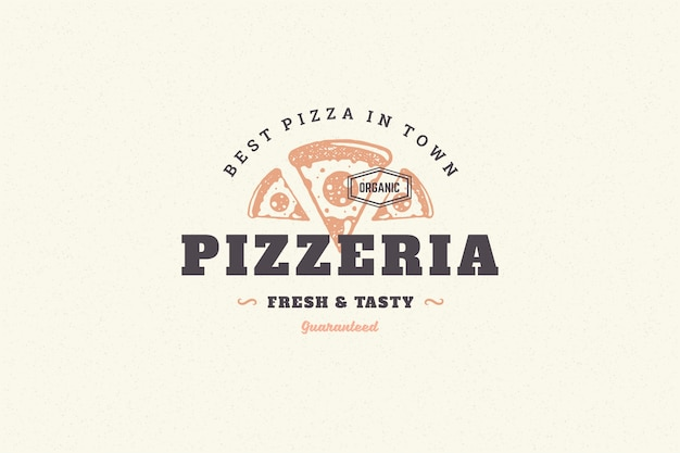 Silhouette De Tranche De Pizza Logo Dessiné Main Et Illustration Vectorielle De Typographie Vintage Moderne Style Rétro. Vecteur Premium