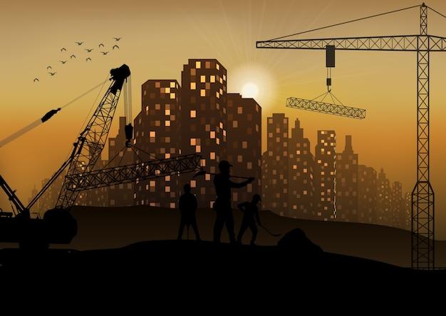 Silhouette de travailleur de construction au coucher du soleil Vecteur Premium
