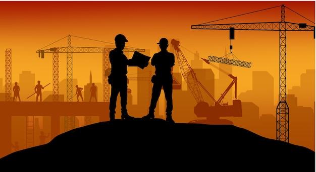 Silhouette de travailleur de construction au travail fond Vecteur Premium