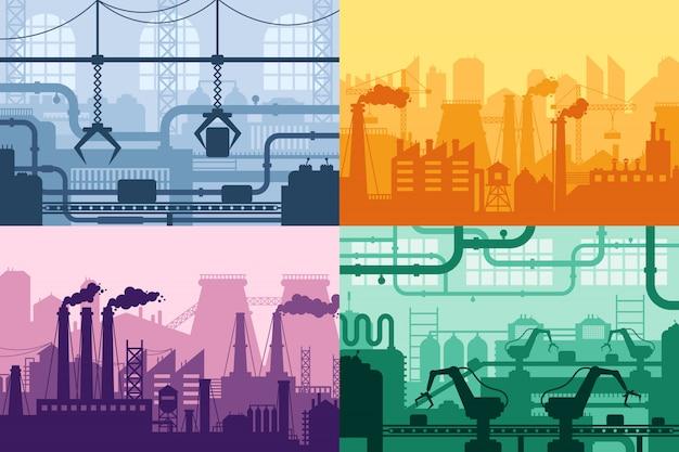 Silhouette D'usine Industrielle. Intérieur De L'industrie De Fabrication, Ensemble De Fond De Machines De Processus De Fabrication Et D'usines Vecteur Premium