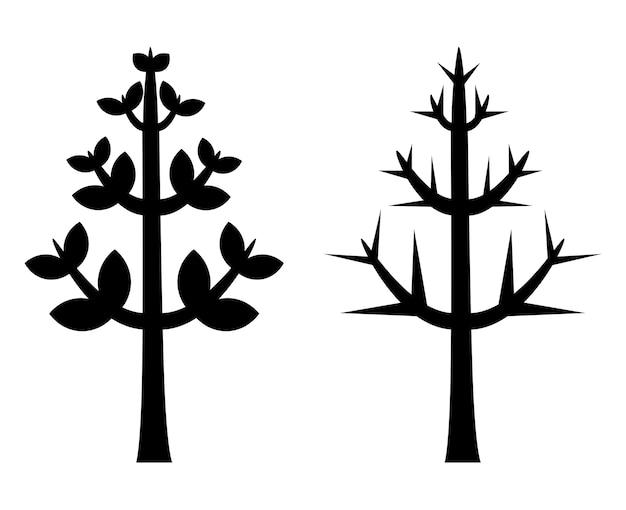Silhouette vecteur d'arbre noir Vecteur Premium