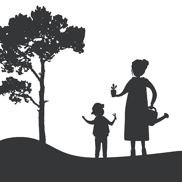 Silhouette de vecteur de jardinage mère et fils Vecteur gratuit