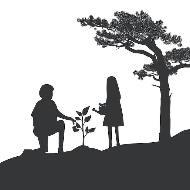 Silhouette de vecteur de jardinage père et fille Vecteur gratuit