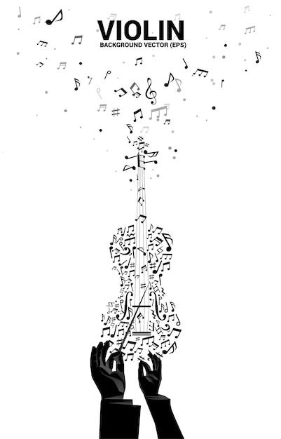 Silhouette Vecteur De Main De Chef D'orchestre Avec Note De Mélodie De Musique Danse Icône De Violon Forme Flux Vecteur Premium