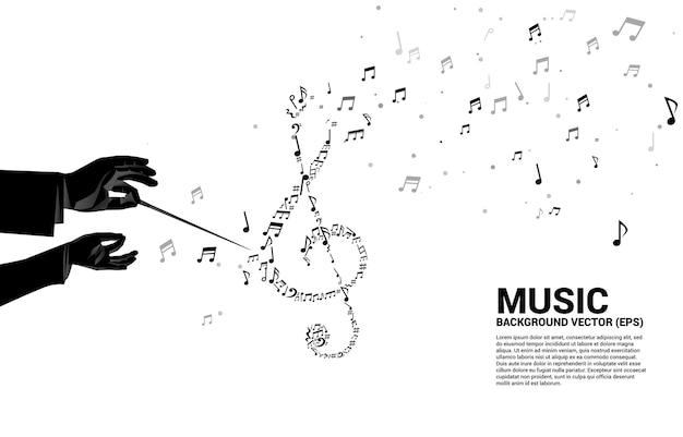 Silhouette Vecteur De La Main Du Chef D'orchestre Avec La Musique Mélodie Forme Sol Note Clé Danse Flux Vecteur Premium