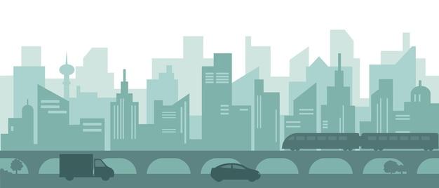 Silhouette De La Ville Moderne Avec Des Gratte-ciel, Des Voitures Et Une Rame De Métro. Vecteur Premium