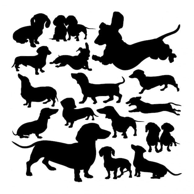 Silhouettes d'animaux chien teckel Vecteur Premium