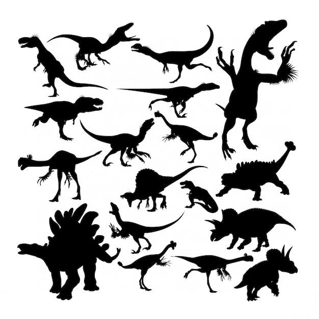 Silhouettes d'animaux de dinosaures reptiles Vecteur Premium
