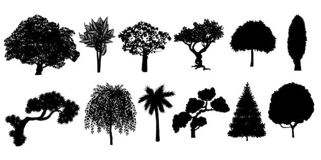 Silhouettes D'arbres Grande Collection. Vecteur Premium