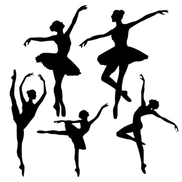 Silhouettes de ballet Vecteur gratuit