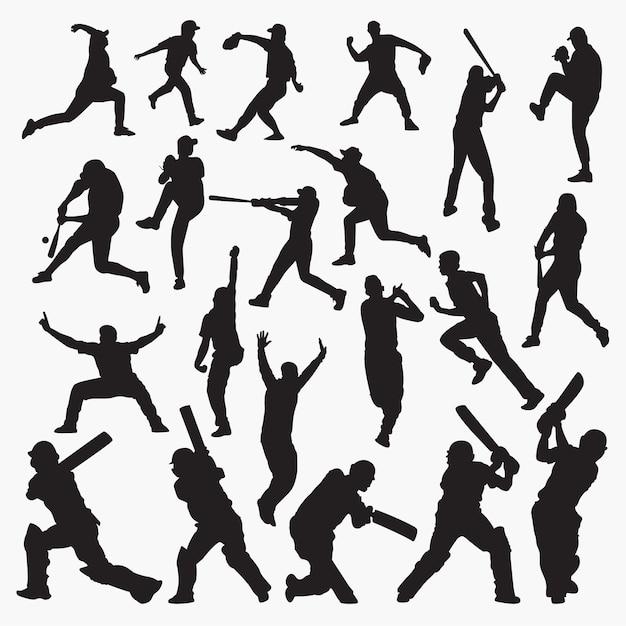 Silhouettes de baseball de cricket Vecteur Premium