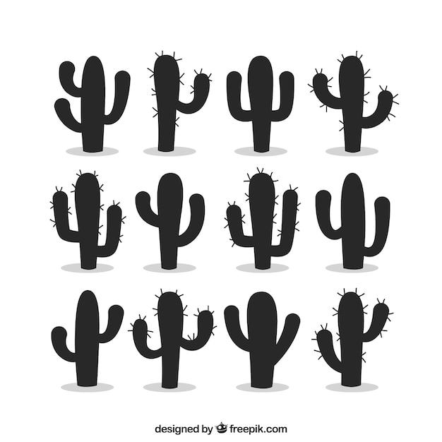 Silhouettes de cactus Vecteur gratuit