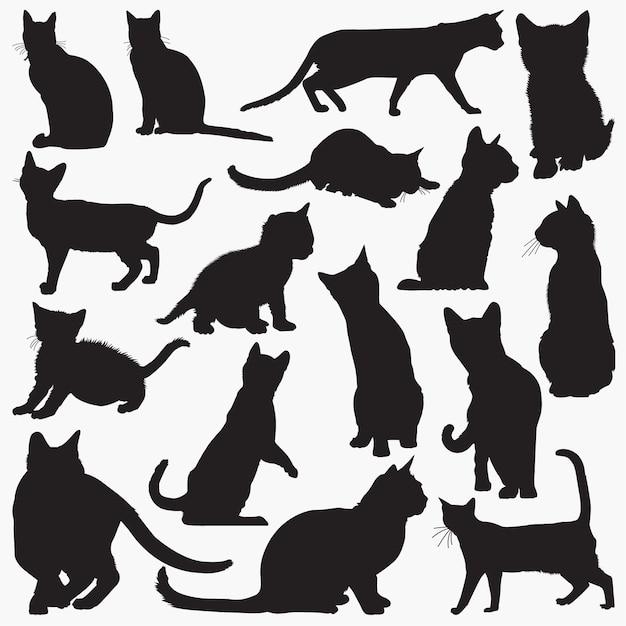 Silhouettes de chat du bengale Vecteur Premium