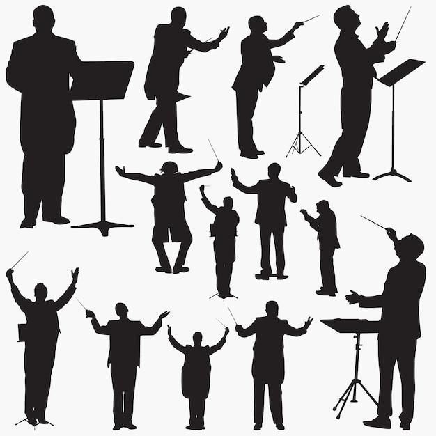 Silhouettes De Chef De Musique Vecteur Premium