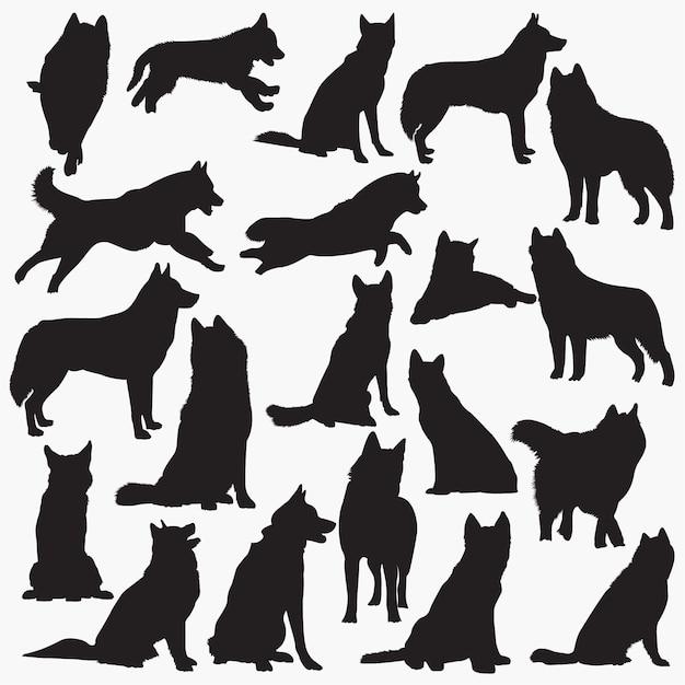 Silhouettes de chien husky sibérien Vecteur Premium