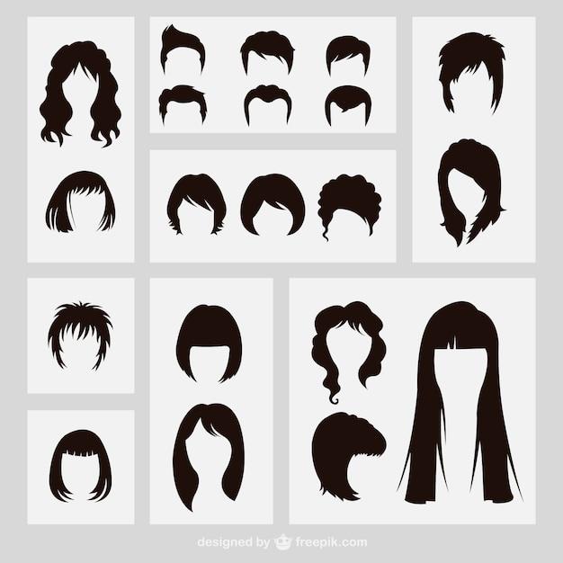Silhouettes coiffures Vecteur gratuit