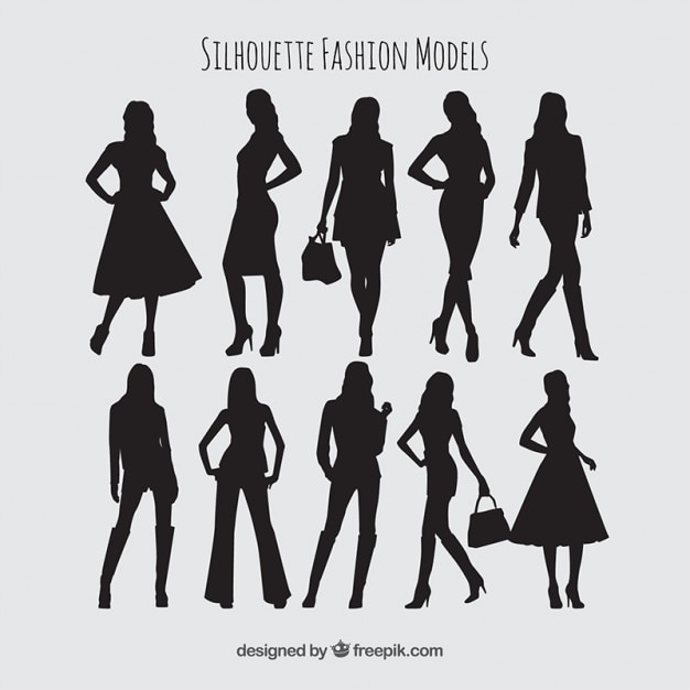Silhouettes collection de mode modèles Vecteur gratuit