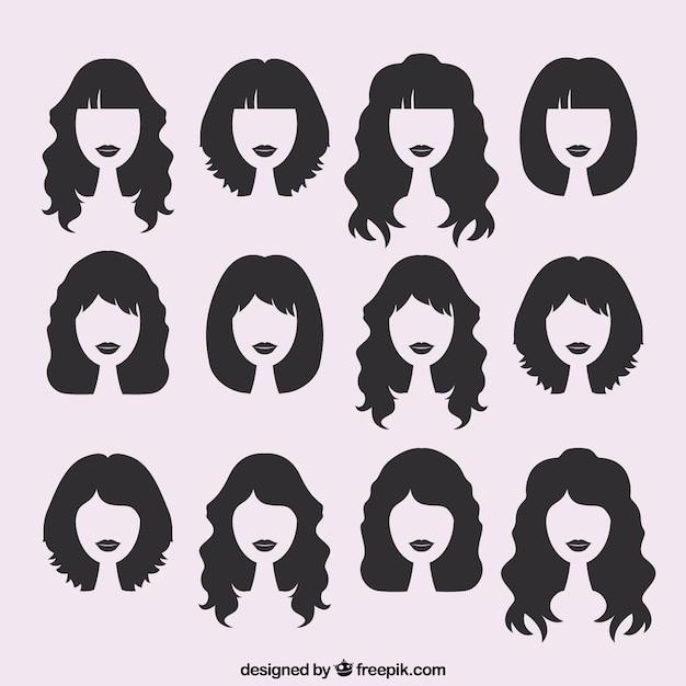 Silhouettes de coupes de cheveux féminins Vecteur gratuit