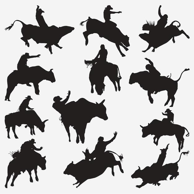 Silhouettes de cow-boy Vecteur Premium