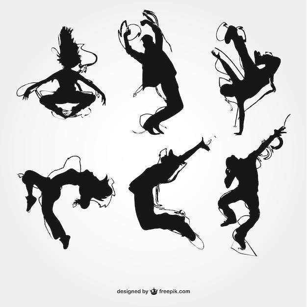 Silhouettes de danse moderne Vecteur gratuit