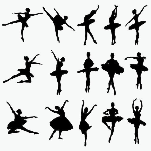 Silhouettes de danseur de ballet Vecteur Premium